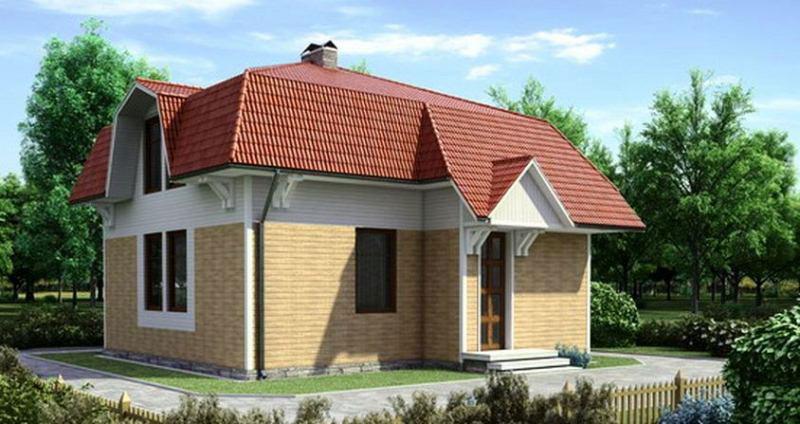 Пример дома с ломаной крышей