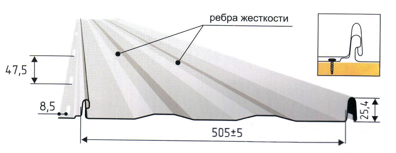 Схема устройства металлической кровли