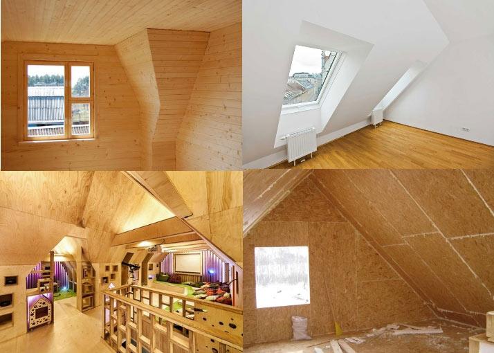 Потолок мансарды: отделка