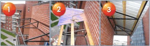 Последовательность монтажа крыши балкона