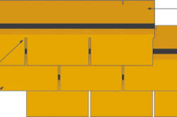 Схема укладки гибкой черепицы: 1 - видимая часть; 2 - перекрываемая часть; 3 - вырез; 4 - самоклеющаяся полоса; 5 - плитка, таб, лепесток