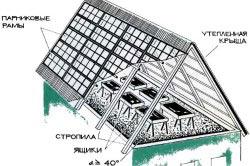 Пример устройства теплицы на крыше