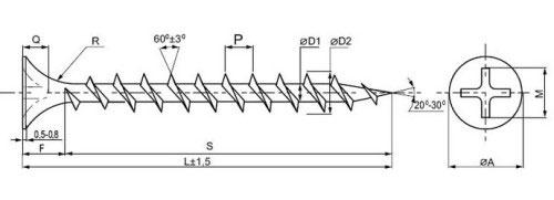 Схема самореза по дереву: A - диаметр головки, F - высота головки, D - наружный диаметр, d - внутренний диаметр, P - шаг резьбы, Q - глубина шпица, M - ширина шпица, R - радиус головки