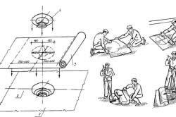 Схема раскроя и наклейки ткани или нетканки при оклейке и герметизации водосточной воронк