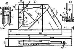 Устройство уклономера конструкции Козловского: а – вид сверху и сбоку; б – шарнир в разрезе; в – маятник, нижняя часть ; 1 – пластина; 2 – кольцо; 3 – ось для маятника; 4 – планка для крепления маятника 5 с указателем 9;  6 – направляющая для маятника; 7 – рамка прибора; 8 – груз-маятник; 10 – шкала измерительная; 11 – опорная рейка